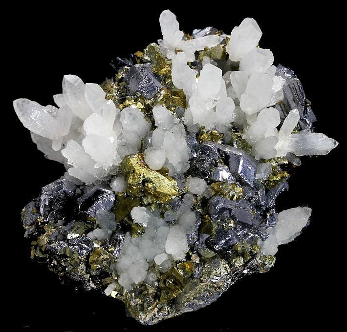 Amazing Quartz Sphalerite Chalcopyrite Madan Bulgaria natural crystal minerals specimen clusters